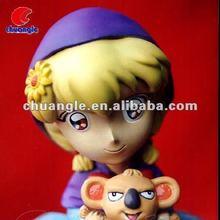 Cartoon Resin Girl, Poly Figure Model, Resin Figurine Handicraft