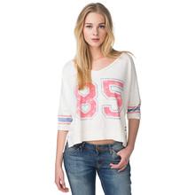 bulk wholesale stylish women t-shirt 3/4 sleeve t-shirt sexy v-neck t-shirt