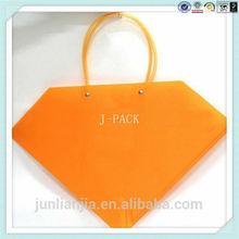 Orange lovely plastic tote bag for shoping