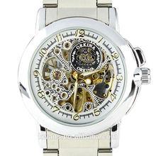 Fashion Mens Silver Skeleton Dial Mechanical Stainless Steel Strap Bracelet Wrist Watch