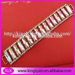 Gorgeous rectangle acrylic bead rhinestone jewelry connector chain for bikini