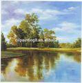 Arbre et rivière, paysage peinture à l'huile