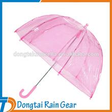 23 inch*8ribs Pink dome straight umbrella for rain