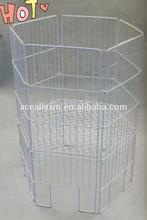 White Polygon Metal Wire Mesh Dump Bins