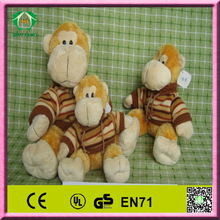 HI CE high quality funny and cute stuffed plush monkey with t-shirt toy wholesale