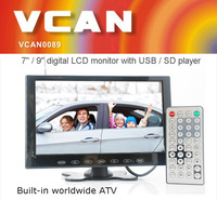 VCAN0951 9 inch color wide lcd digital monitor tv with USB SD mp5 player Bulitin Analog TV