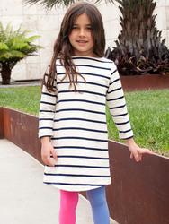 2015 design custom kids long sleeve sailor stripe dress