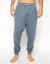 Lounge mens drop crotch sweat pants in Navy Marl