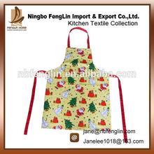 Estacional de la promoción delantal de algodón estilo de la navidad impreso barato de la cocina delantal