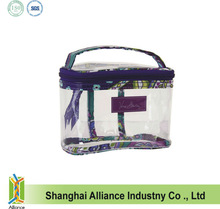 Clear PVC cosmetic bag with signature print trim