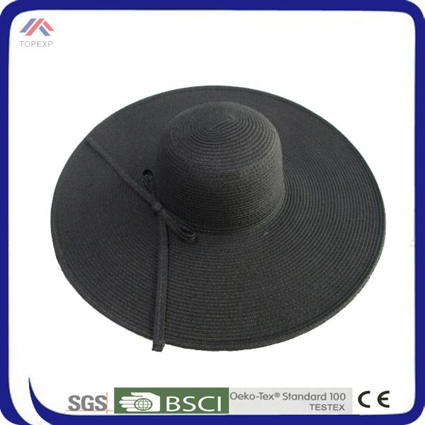 แฟชั่นสุภาพสตรีฟางหมวกสีดำหมวกร่ม