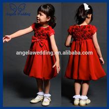 baratos fl043 una línea de satén roseta de la rodilla longitud larga y gran arco rojo cenicienta vestidos de flores niña