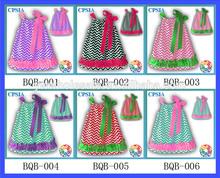 Chevron Satin Pillow Case Dress With ruffle Colorful Baby Pillowcase Dress