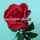 Silk flower red rose, single long stem flower artificial flower rose