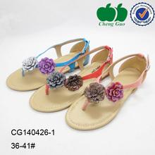 2014 Best fashion summer foreign flower decorative beach flat sandals for women