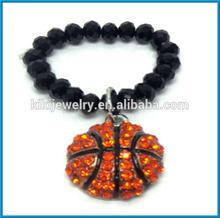 fashion crystals basketball hang with handmade beads finger ring