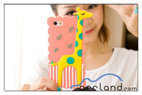 New Cartoon 3D Cute Giraffe Animal Soft Silicone Skin Case Cover for IPhone5/5s,giraffe case for iphone 5