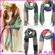 Wholesale Women Winter Tartan Check Stripe Knitted Neck Warmer Shawl Scarf Wrap Stole Plaid Pashmina