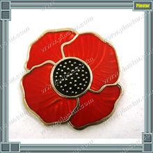 Hot sale cheap poppy badge fancy metal flower lapel pin supplier