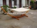 De madera hamaca arco stand + acolchado de fiesta de color doble cama hamaca, doble acolchada. Acabado de madera de teca. Persona 2 cama.