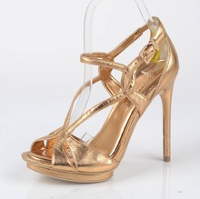 2014 summer hot selling temperament buckle fashion lady sandals golden high-heeled sandals