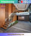 Escalier en bois/faisceau en acier au carbone avec le verre rambarde d'escalier en bois( pr- l28)