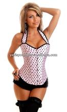 lovely pink sexy strap hot sale polka dot wonderful lingerie sparkle corset