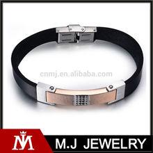 2014 design fashion black beautiful stainless steel men ceramic jewellery men leather chain bracelet men MJ-B01091
