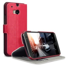 Red PU Leather Wallet Stand Case With Card Holders For HTC ONE M8