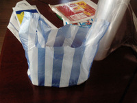 Stripes plastic bags vegetables packing