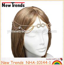 Indian wedding hair accessories, gold jewelry head chain headband