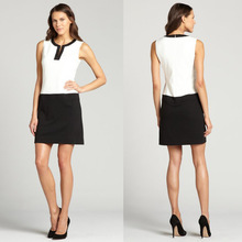 Sleeveless Black and White Contrast Dress for office lady