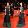 New Elegant Black Tulle Three Color Conbination See Through Celebrity Red Carpet Dress Lace