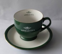 Haonai M-10499 ceramic/stoneware espresso cups and saucers with green color