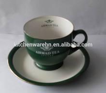 Haonai M-10499 ceramic/stoneware espresso cups and saucers with green color
