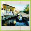 rio paisagem pintura a óleo backsplash azulejo cerâmicaimagem para cozinha
