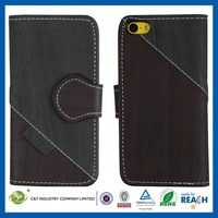 2014 Simple and plain OEM available wallet leather flip case cover for iphone5c