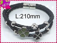 China Simple arractive jewelry style wholesale handmade natural stone leather wrap bracelet unisex