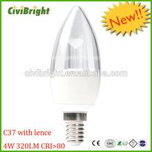 NEW products 2014! ce14 e27 b22 led lamp C37 tail lamp beautiful design got CE&RoHs