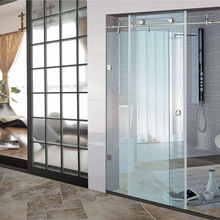 Wall to wall stainless steel glass sliding shower panel /shower door