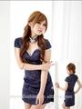 de color azul oscuro chino tradicional vestido de traje de qipao