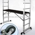 متعددة الأغراض الالومنيوم السقالات سقالة سلم قابلة للتمديد +wheels