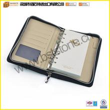 Promotional Hot Sale Fashion Good Quality Custom Leather Zipper Portfolio Case