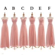 New Arrival Blue 2014 A Line Strapless Sweetheart Long Chiffon Ruffles Peach Color Bridesmaid Dress