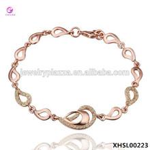 18K Rose Gold Plated Many Teardrops Crystal Pave Link Bracelet, 925 Silver Jewelry