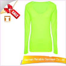 Blank 100 polyester women plain long sleeve sports t shirts with dry fit