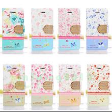 Bling Diamond Elegant Royal Flower Pastoral Style Stand Flip Leather Case Card Slot For Apple iPhone 4 4s 5 5s