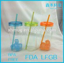 Wholesales Chimney Shape Mason Jar with Straw Made in China