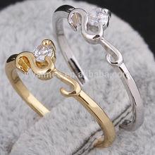 14k gold plated plain platinum wedding ring,white zircon rings(AM-J27028)