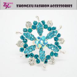 2014 new cheap fashion jewelry ladies big flower rings with rhinestone